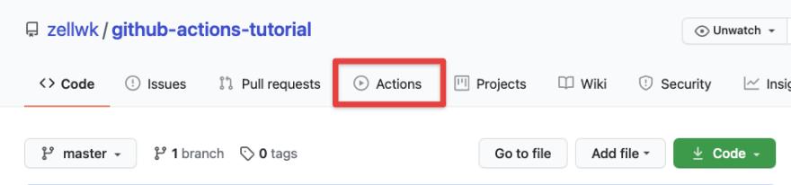 github actions tab location