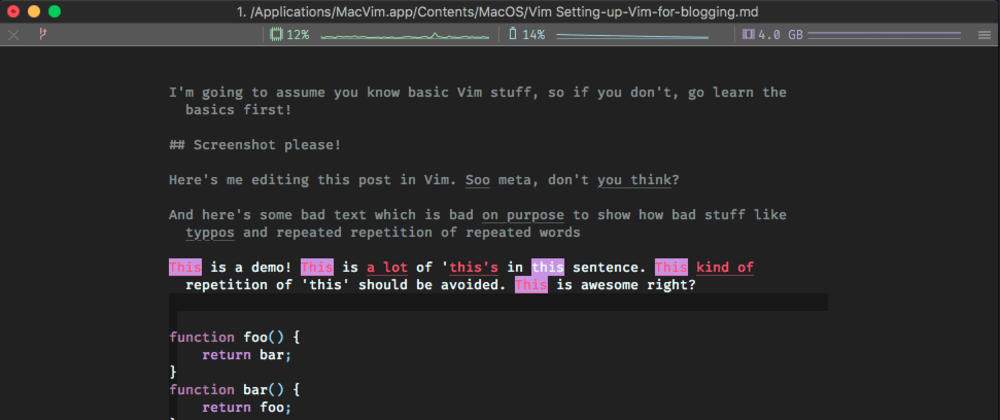 Cover image for A Quickstart guide to setting up Vim for blogging