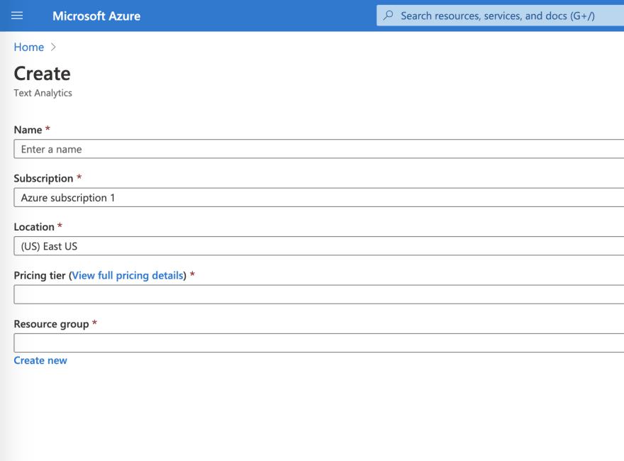 Azure services create
