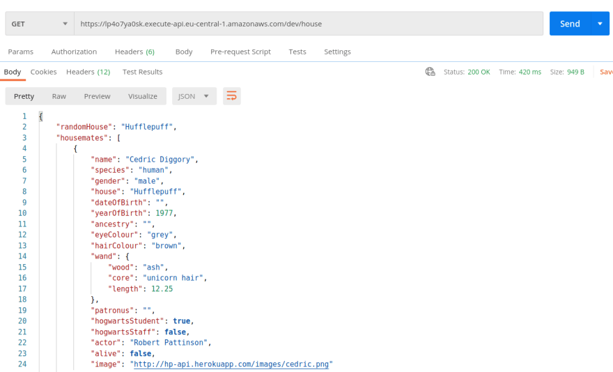 Screenshot Postman output