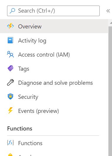 Function App Side Menu