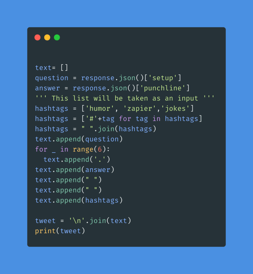 Code snippet to format Tweet