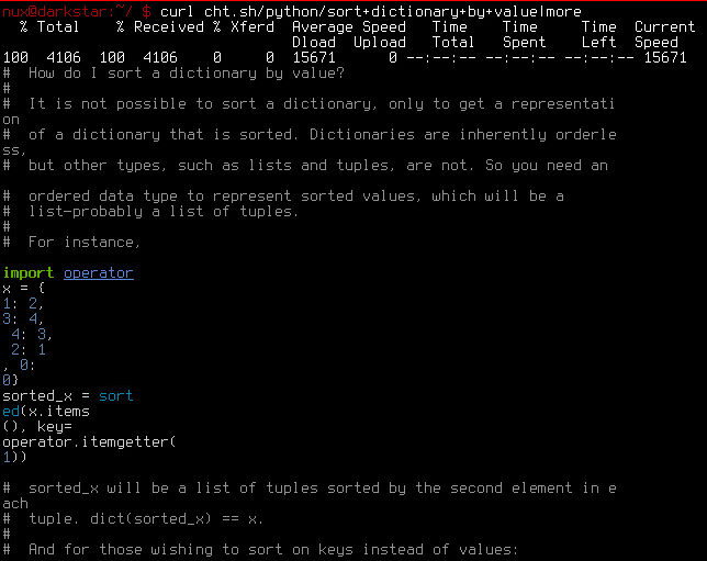 Screenshot of terminal output of above command