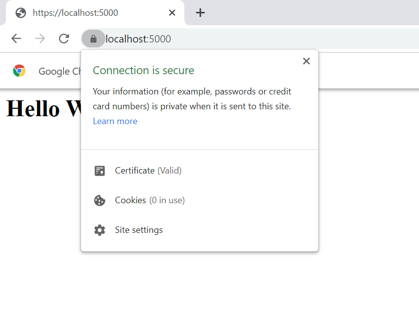Chrome web browser localhost:5000 over HTTPS with no warnings