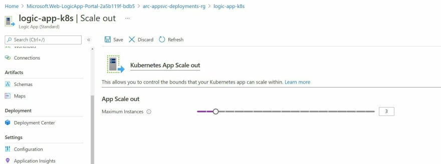 Screenshot showing the Scaling out Functionality for a Logic App hosted in App Service on Kubernetes through Azure Portal