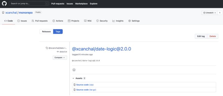 Github repository tags