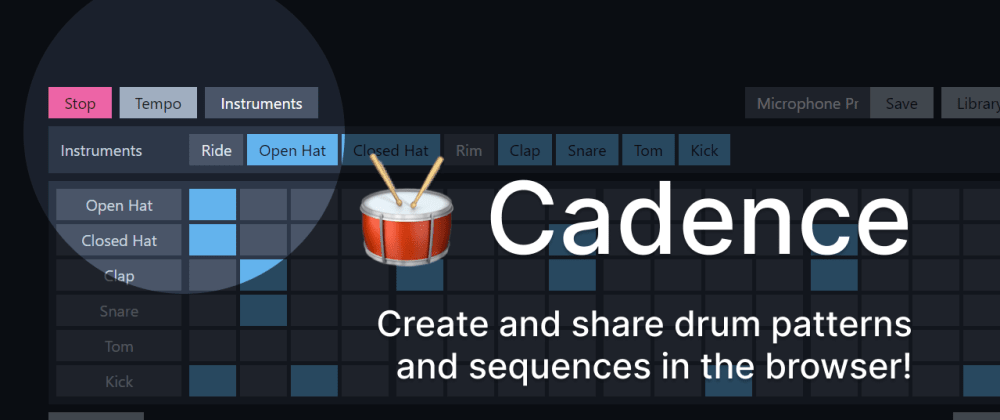 Cover image for Cadence: create and share drum patterns and sequences in the browser