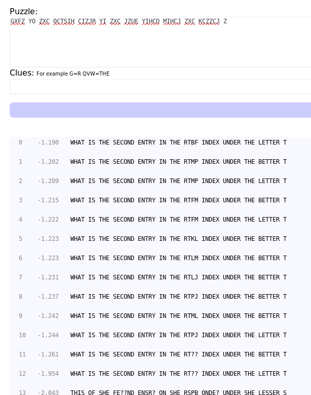Quipqiup cryptogram results