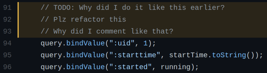 Screenshot of the above linked code lines in GitHub, with the following contents: TODO: Why did I do it like this earlier? Plz refactor this Why did I comment like that?