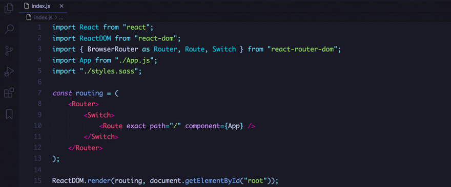React code snippet with the Tokyo Night theme