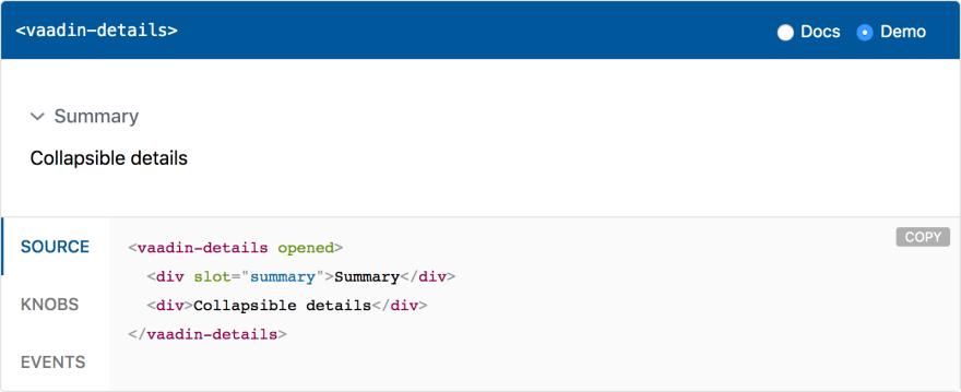 <vaadin-details>, a first LitElement-based web component