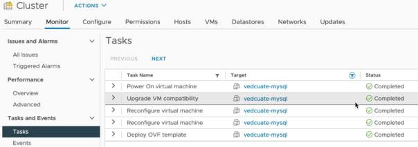 Data Management for Tanzu - Org User - Create Database - vCenter Tasks