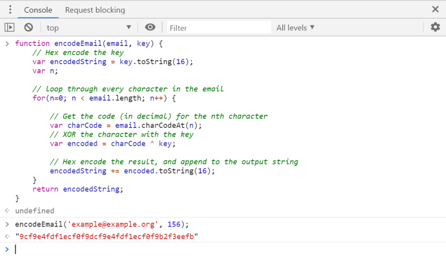 Image of encoding a string in Chrome's dev console