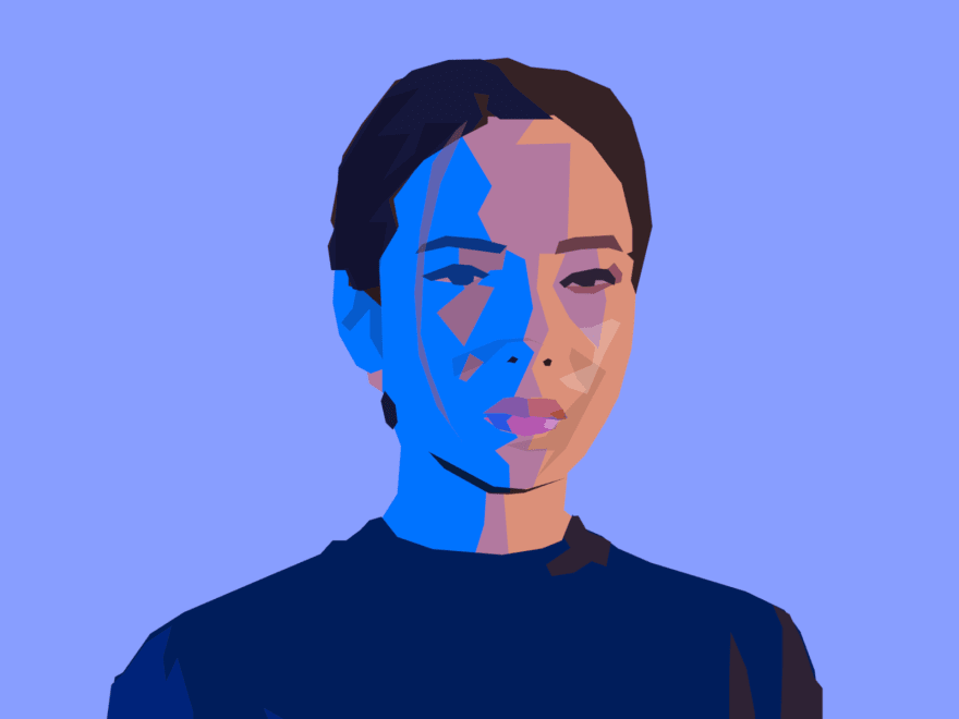 Cartoon of a woman done with polygons in bright colors