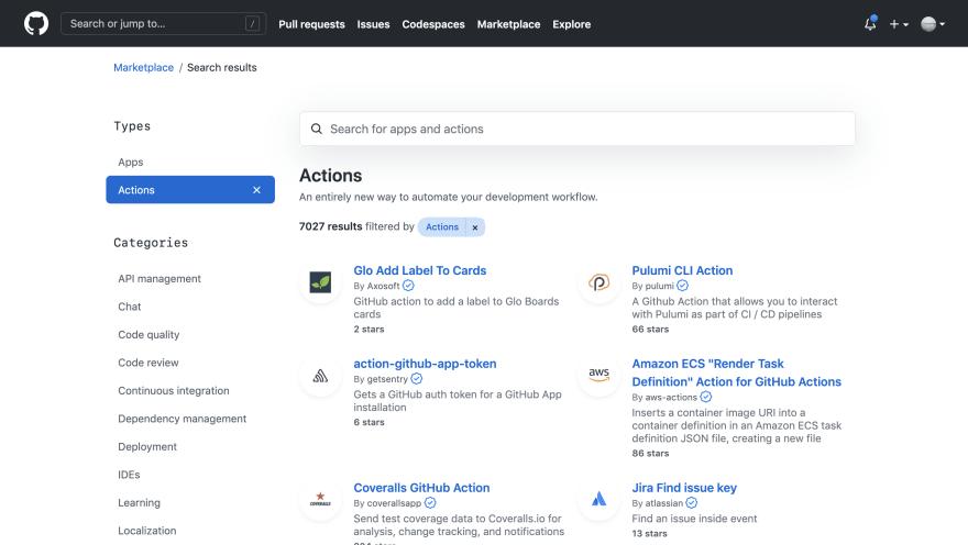 GitHub Marketplace screenshot