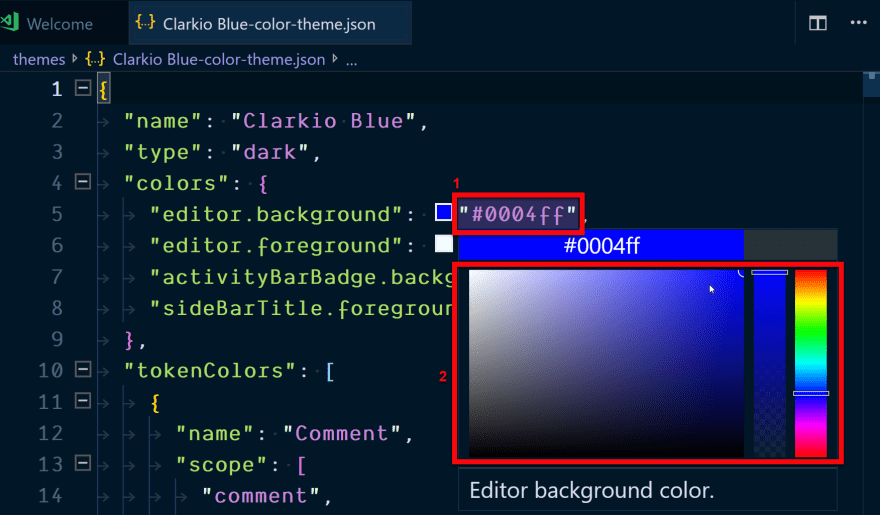 Editing the background color for the color theme in VS