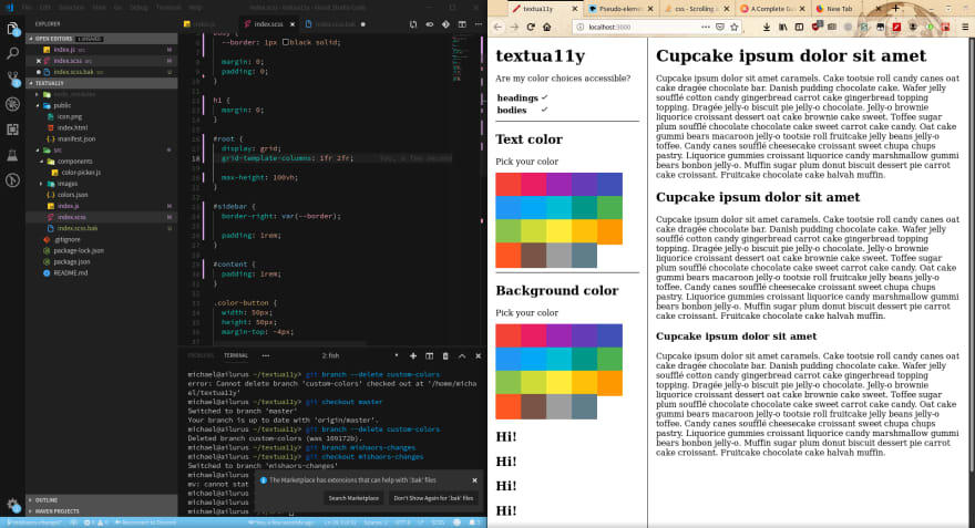 VS Code and Firefox side-by-side