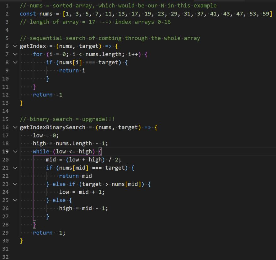 binary search in code