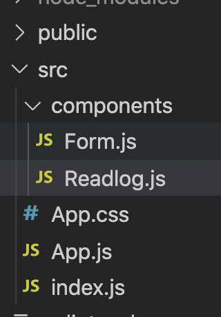 file structure showing readinglog and form in components folder