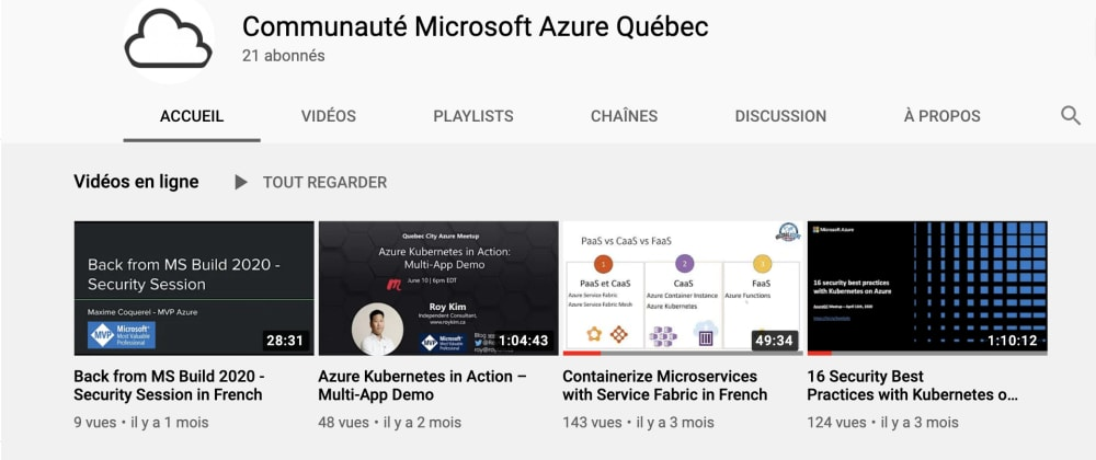 Cover image for the Azure Quebec community is now on YouTube!