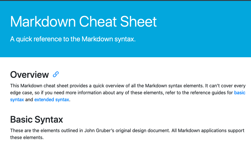 Markdown Cheat Sheet Sample