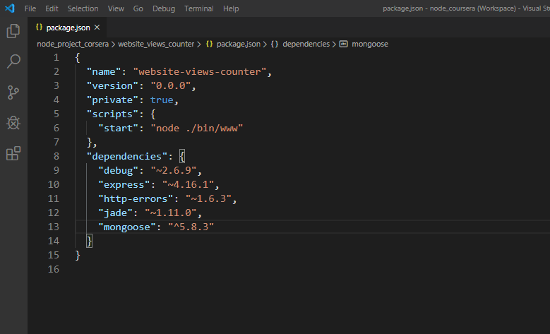 our package.json file