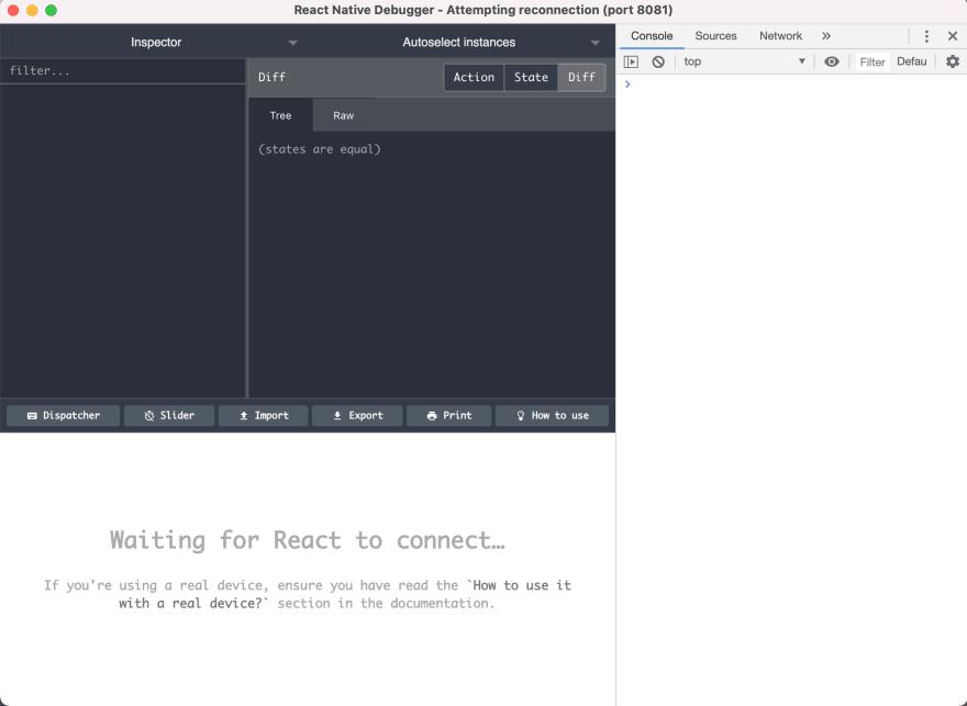 React Native Debugger window