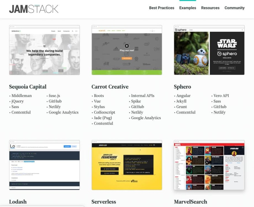 Example jamstack sites featured on https://jamstack.org/examples/