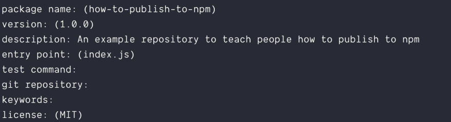 Image of the npm init command