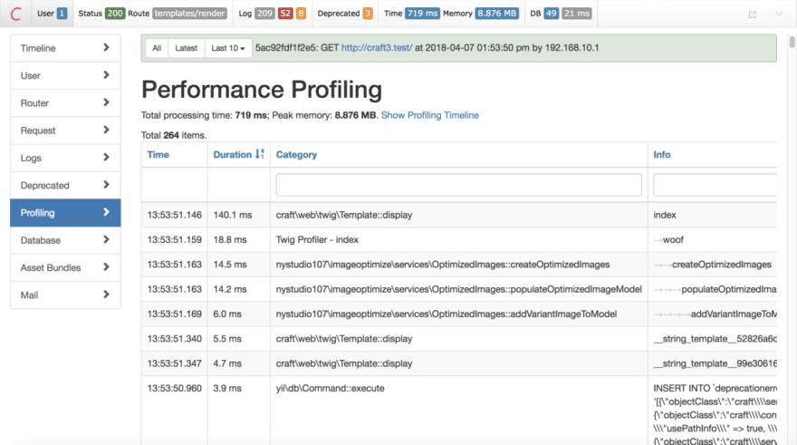 Debug Toolbar Performance Profiling