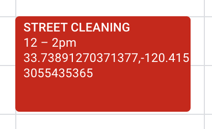 Calendar reminder for street cleaning