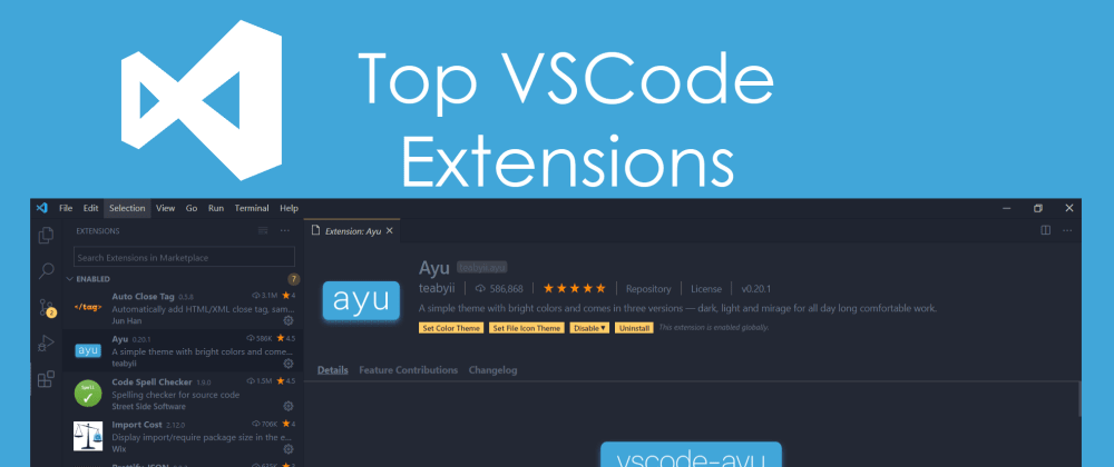 Cover image for Top VSCode Extensions to be a happier FrontEnd.