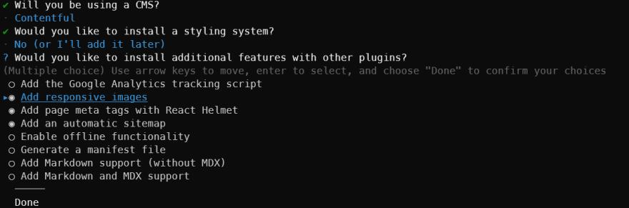 Command line screenshot, setting up Gatsby