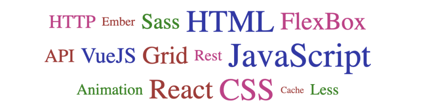 Word cloud with web development terms in different colors