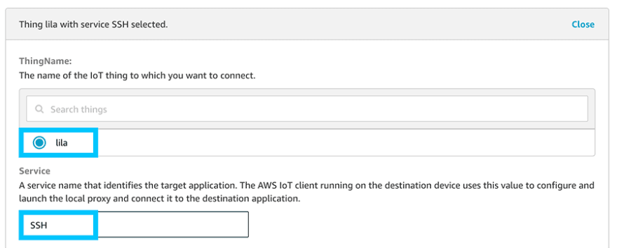 AWS IoT Secure Tunnel Settings