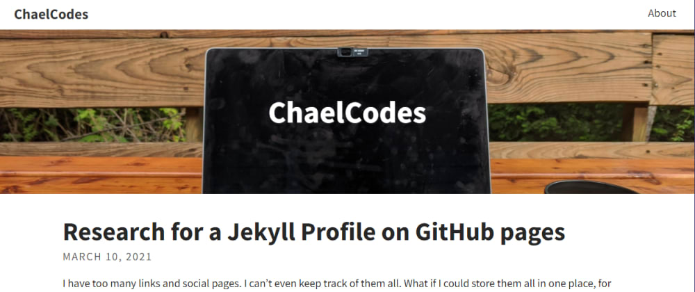 Cover image for Research for a Jekyll Profile on GitHub pages