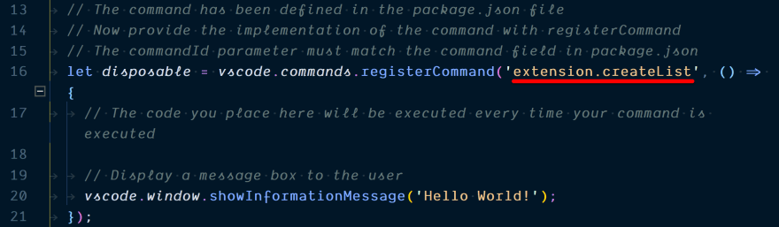 Changing the name of the registered command in code