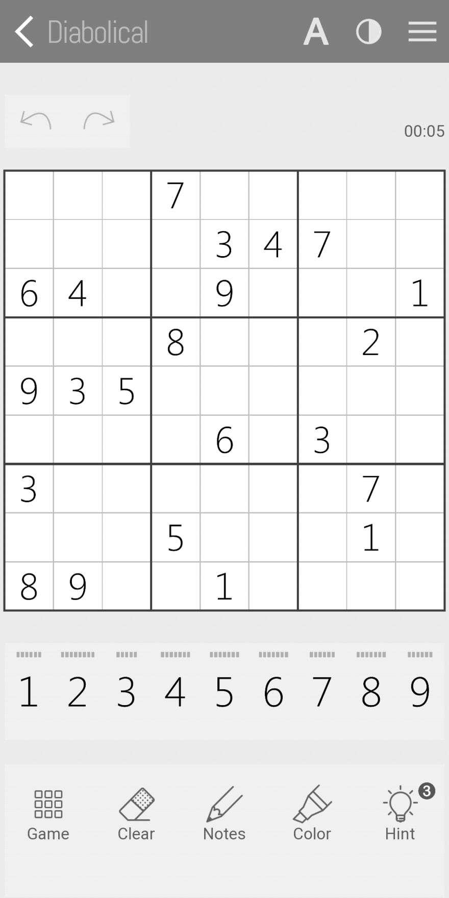 Grayscale Screenshot of Sudoku