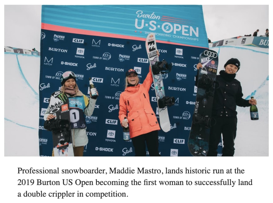 Maddie Mastro, Chloe Kim, and Xuetong Cai on the podium at the Burton US Open for women's snowboard superpipe.