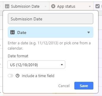 A dropdown menu showing the options for date-type data in Airtable.