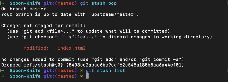 Screenshot of git stash pop command