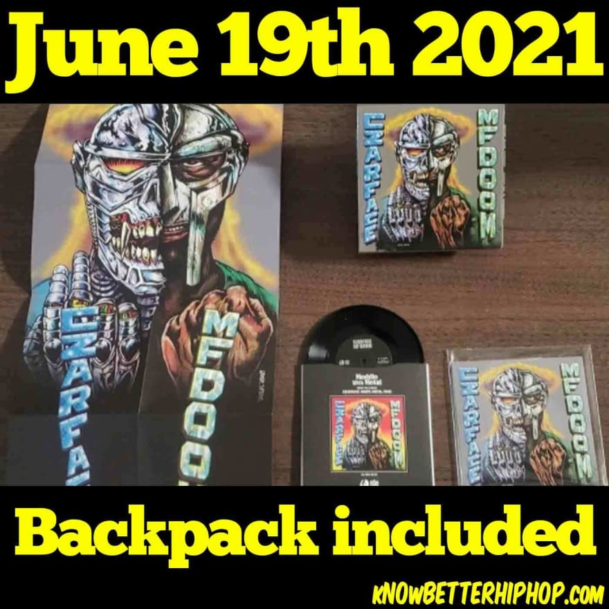 Radio show episode image of a photo showing packaging of the Czarface and MF DOOM 3 inch vinyl record with the artwork of an illustration of a person half robot and half MF DOOM with their fists at their chest with the words June 19th 2021 Backpack included