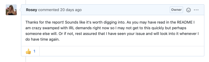 Screenshot of my reply to the GitHub issue