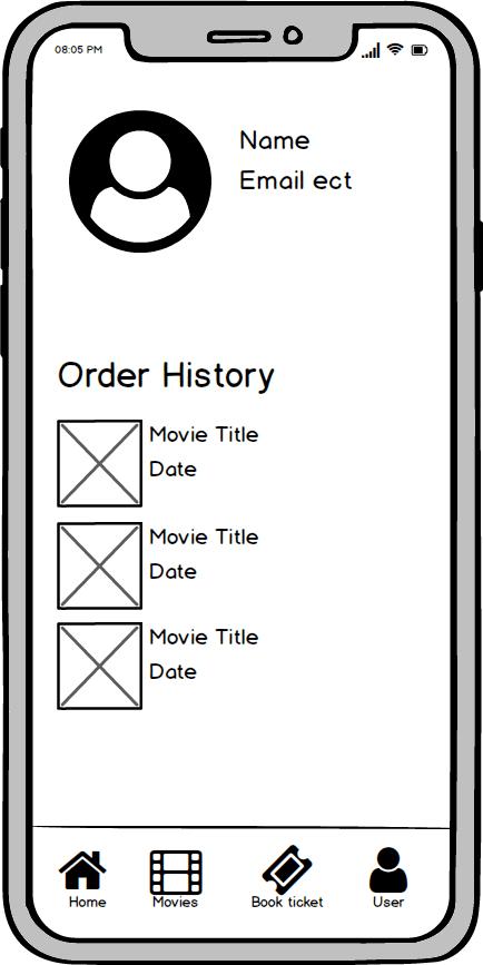 profile screen wireframe kino