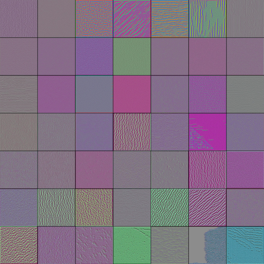 Visualization of Convolutional Filter on VGG16, second layer.