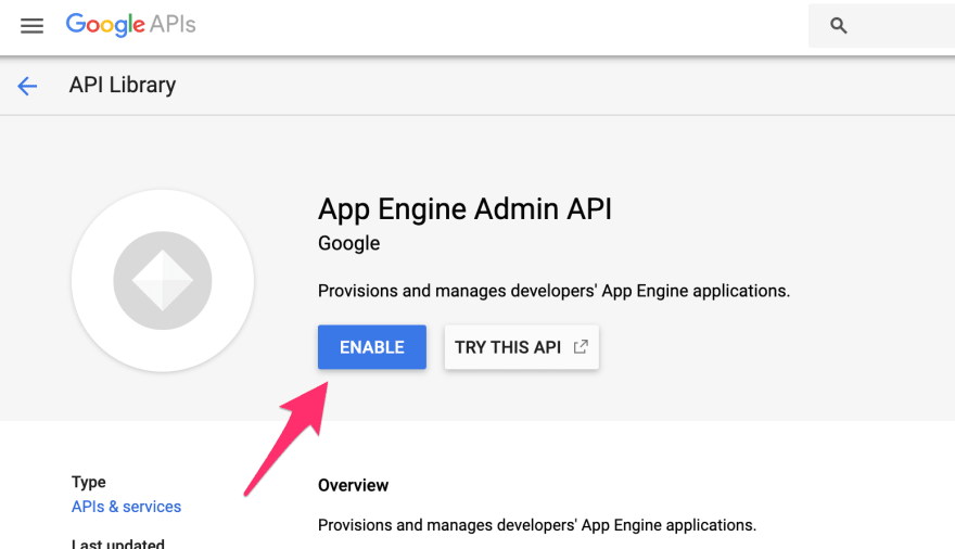 App Engine Admin API enabling