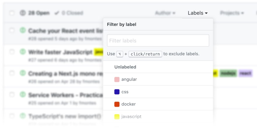 GitHub Issues Tags