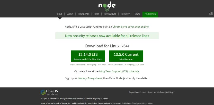 Node.js landing page