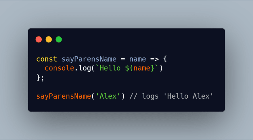 Arrow function with parentheses removed