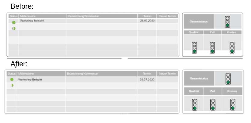 Screenshot of the table on PPTX file before and after the fix